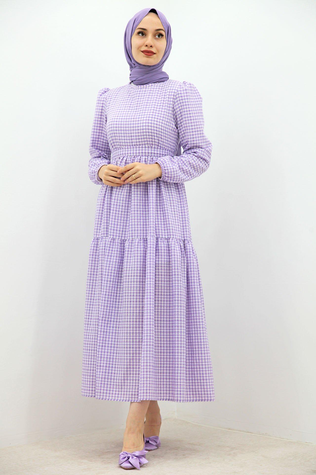 GİZAGİYİM - Küçük Pötikare Elbise Lila