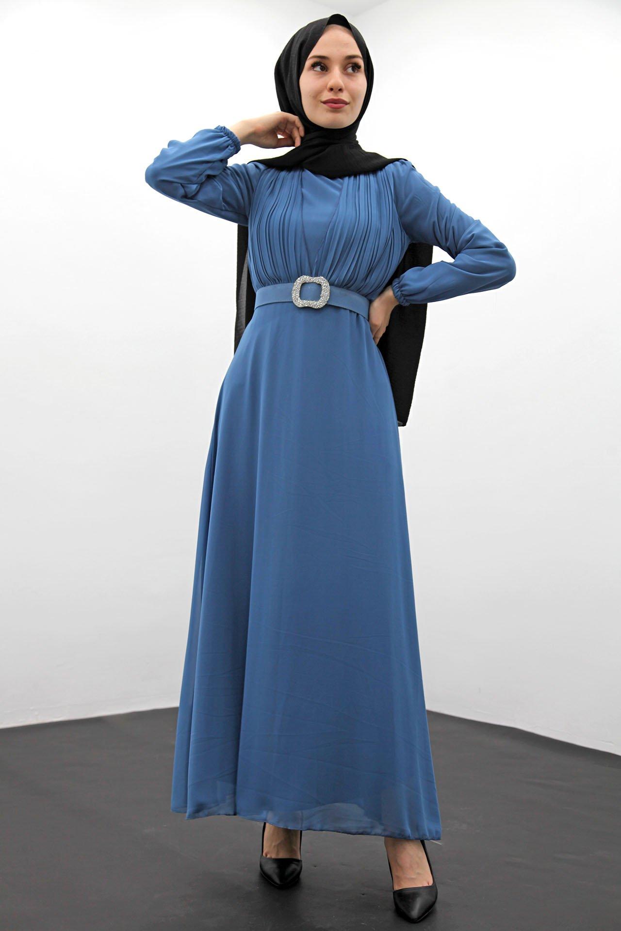GİZAGİYİM - Taş Kemer Pilisoley Elbise İndigo