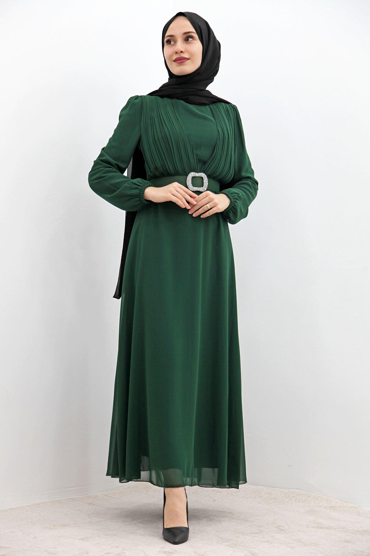 GİZAGİYİM - Taş Kemer Pilisoley Elbise Zümrüt