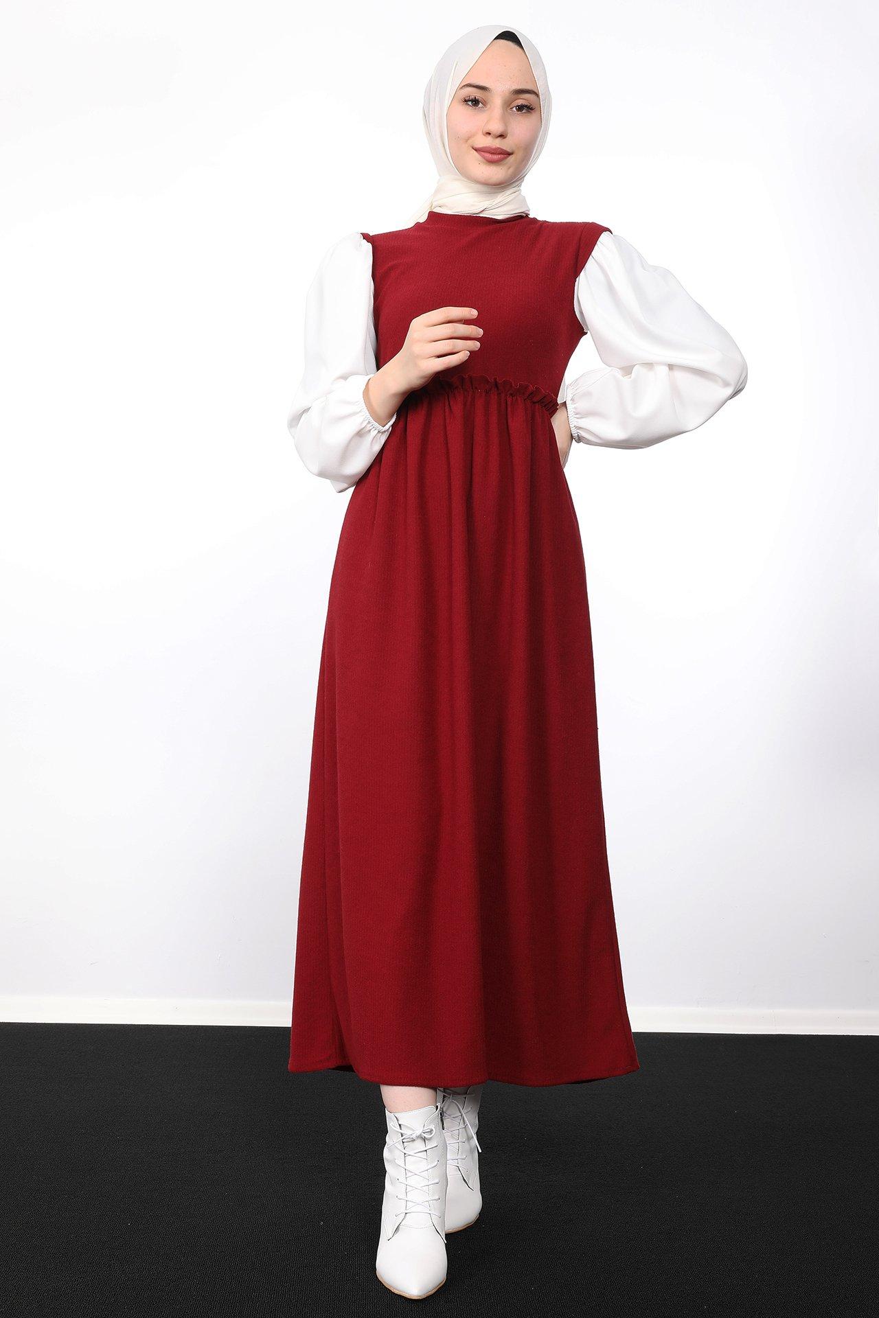 GİZAGİYİM - Beli Büzgülü Fitilli Elbise Bordo