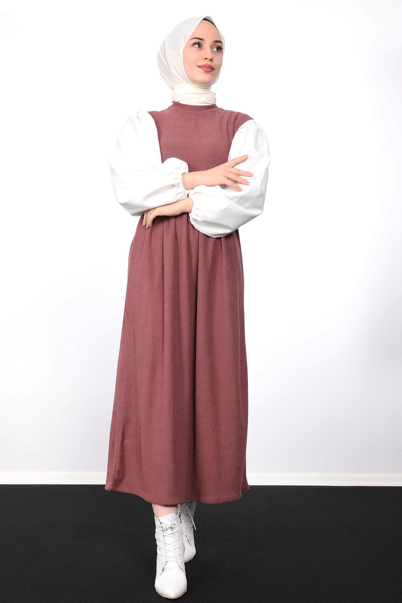 GİZAGİYİM - Beli Büzgülü Fitilli Elbise Gül Kurusu
