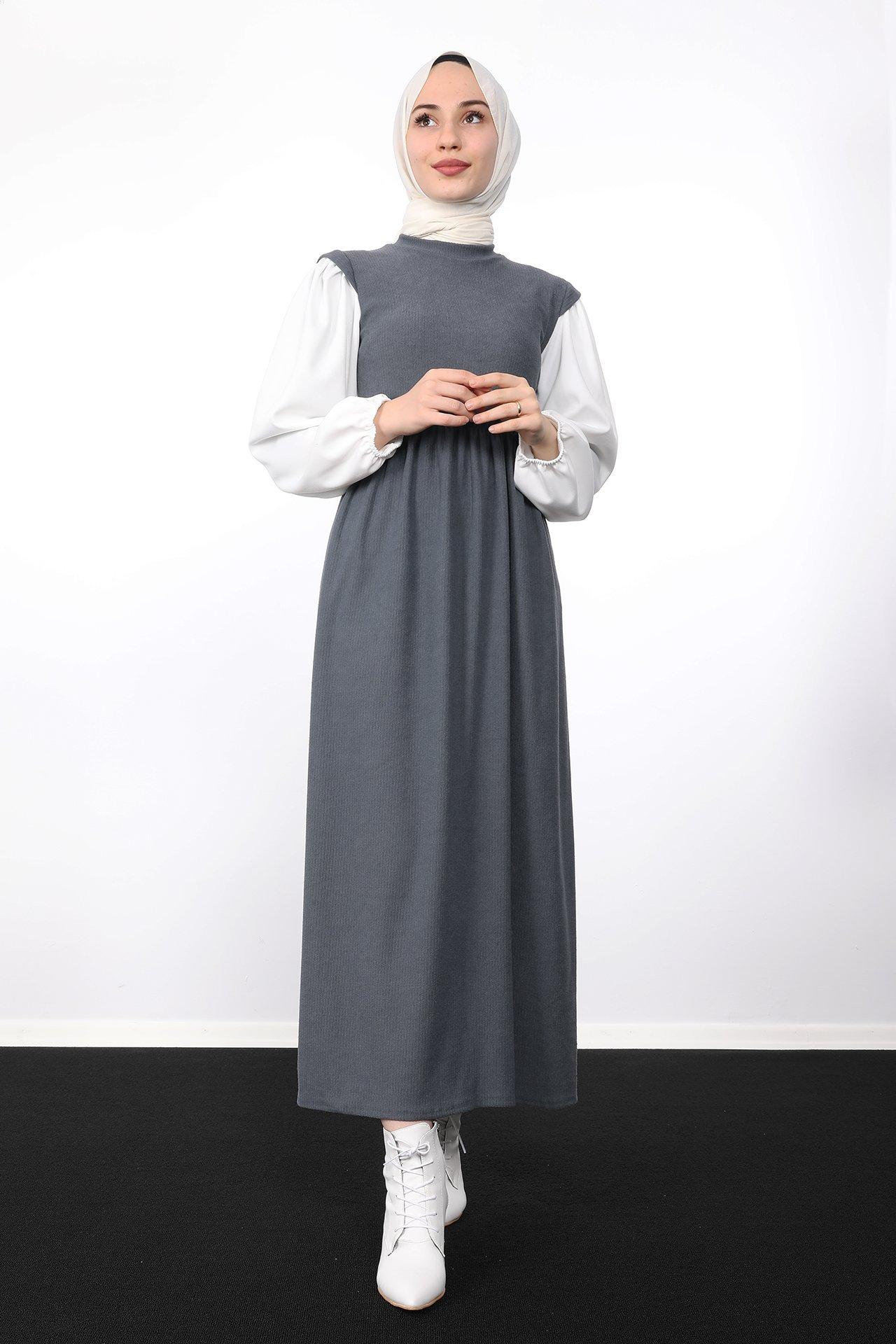 GİZAGİYİM - Beli Büzgülü Fitilli Elbise Koyu Gri