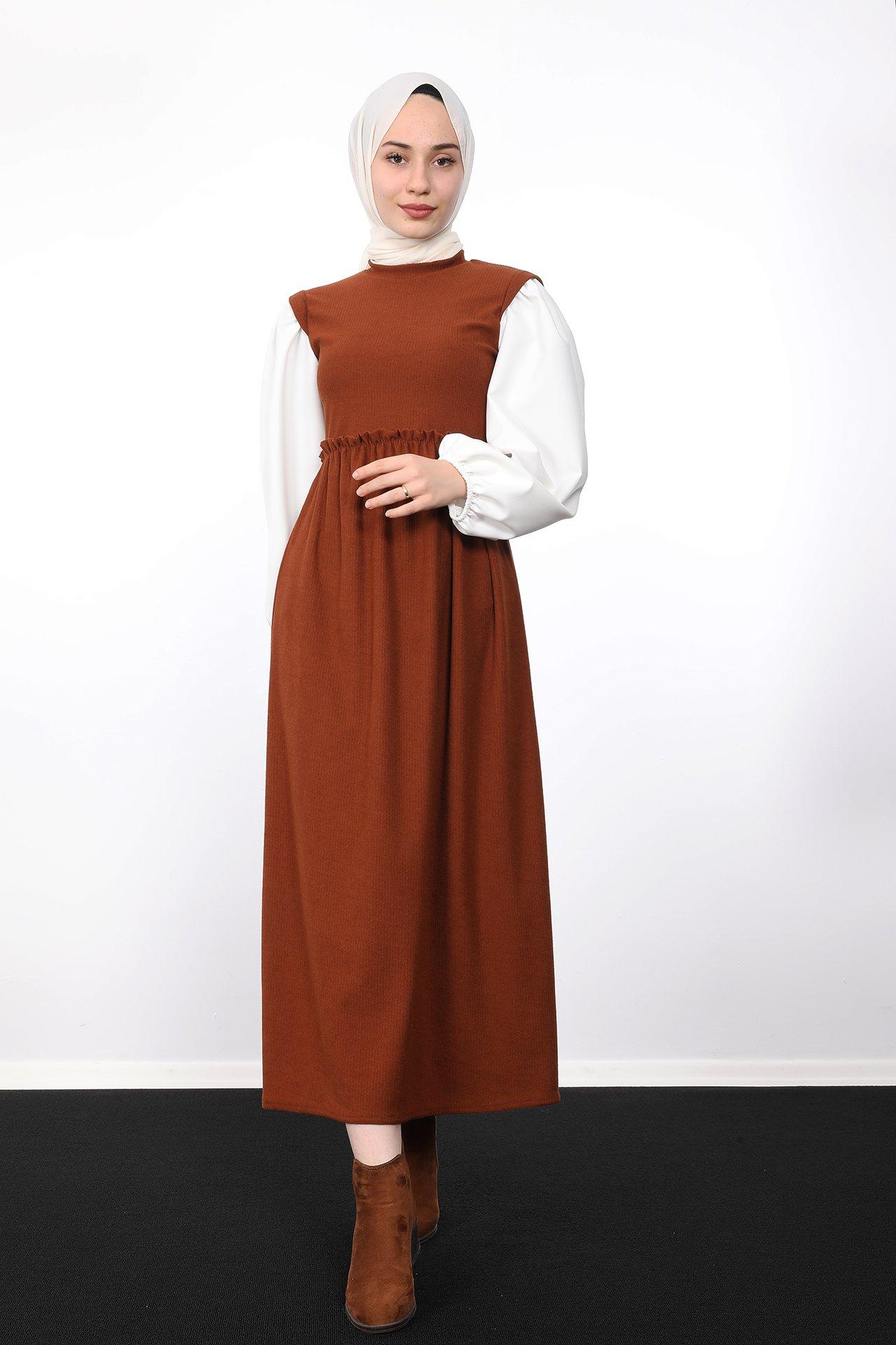 GİZAGİYİM - Beli Büzgülü Fitilli Elbise Kiremit