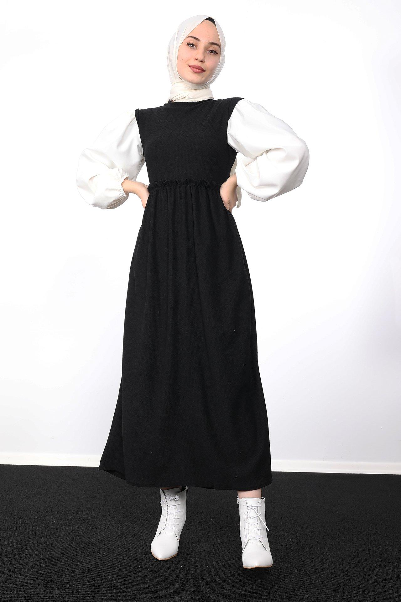 GİZAGİYİM - Beli Büzgülü Fitilli Elbise Siyah
