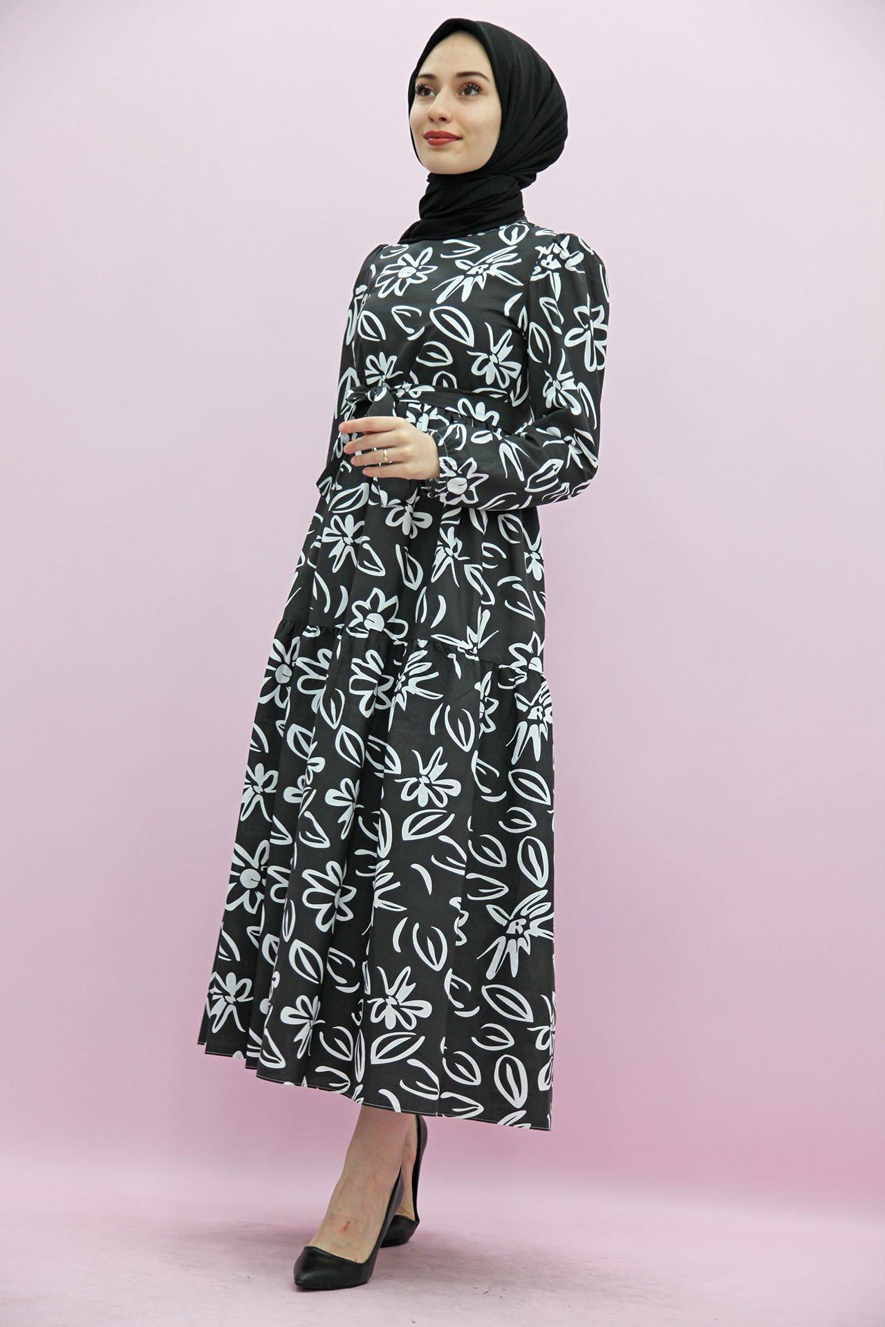 GİZAGİYİM - Giza Motifli Kat Kat Elbise Siyah