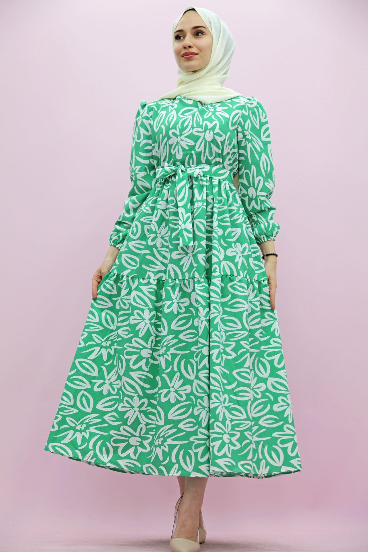 GİZAGİYİM - Giza Motifli Kat Kat Elbise Yeşil
