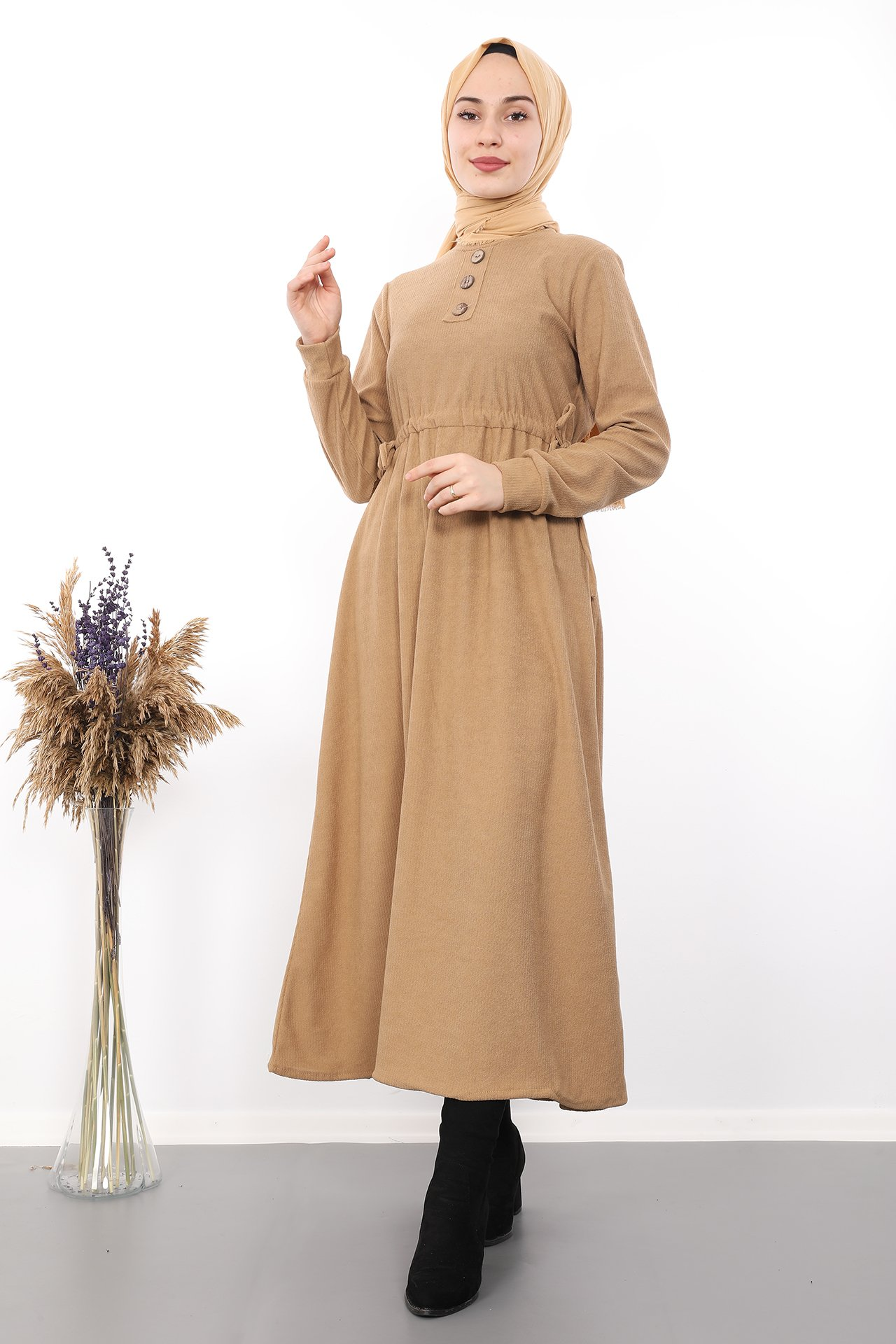 GİZAGİYİM - Belden İpli Tesettür Elbise Bisküvi
