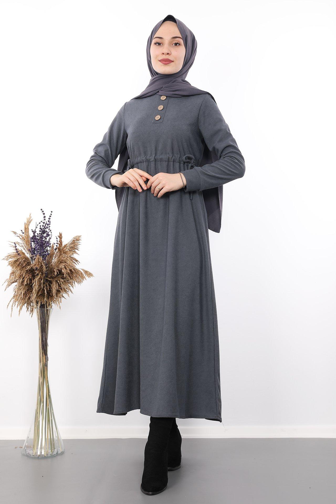 GİZAGİYİM - Belden İpli Tesettür Elbise Füme