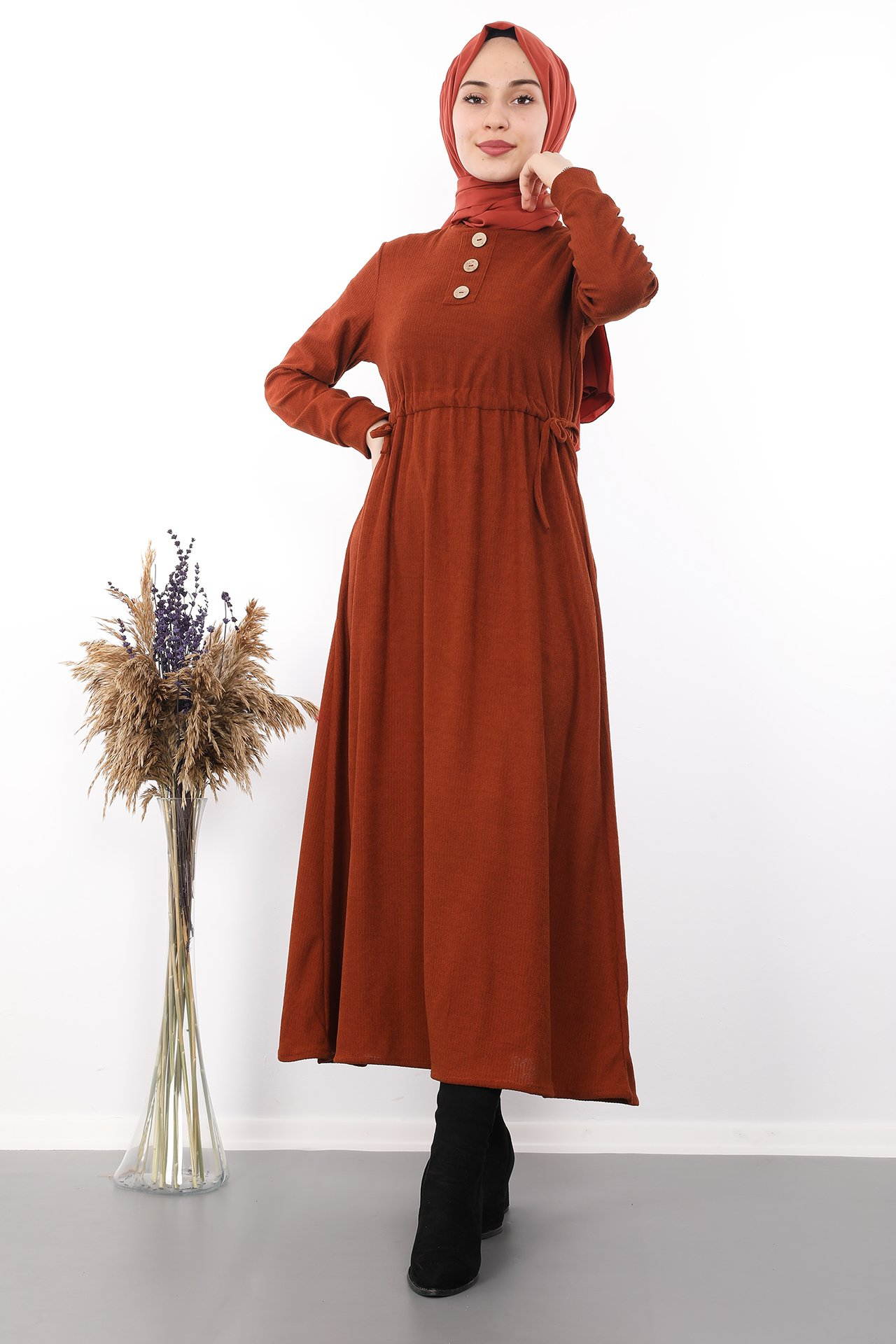GİZAGİYİM - Belden İpli Tesettür Elbise Kiremit