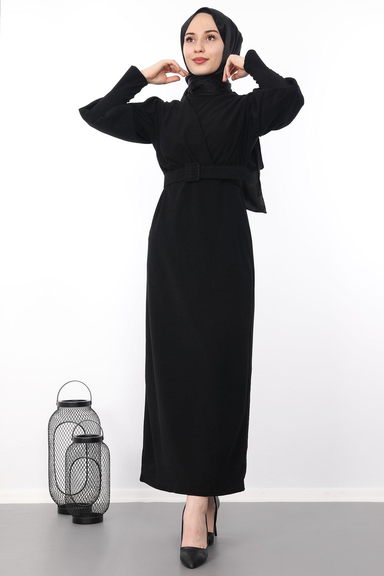 GİZAGİYİM - Kadife Kalem Tesettür Elbise Siyah