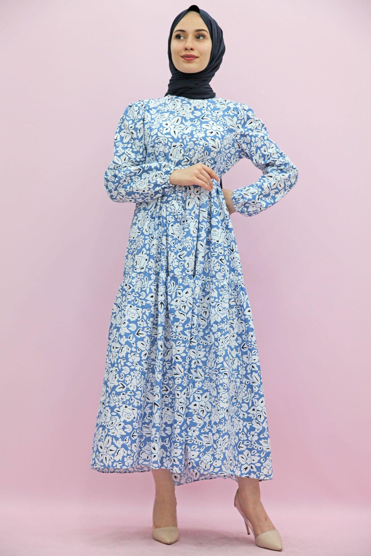 GİZAGİYİM - Büzgübel Katlı Kuşaklı Elbise Mavi