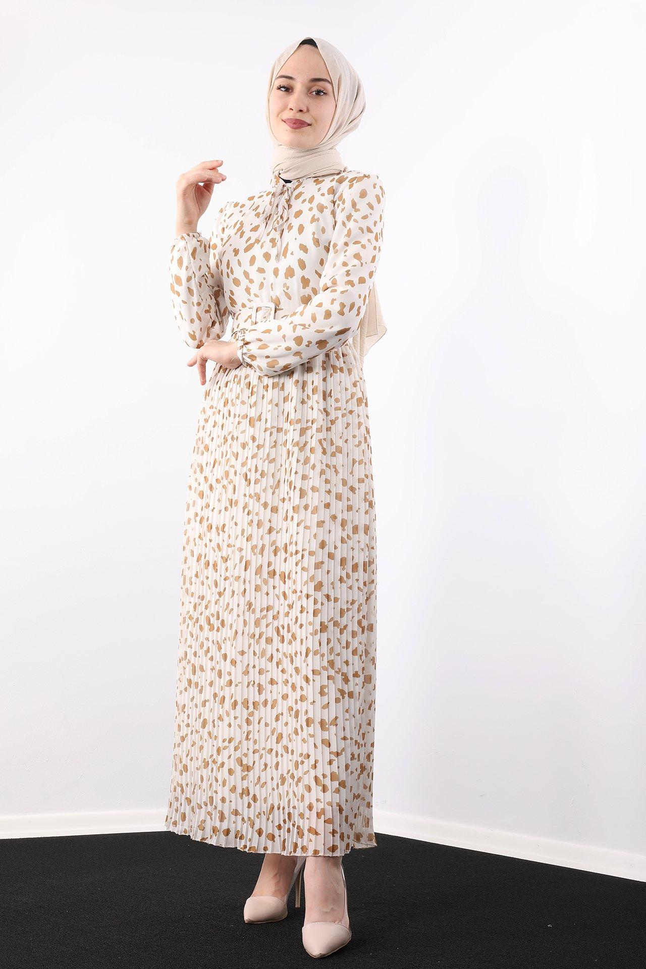GİZAGİYİM - Kolu Lastikli Kemerli Elbise Hardal
