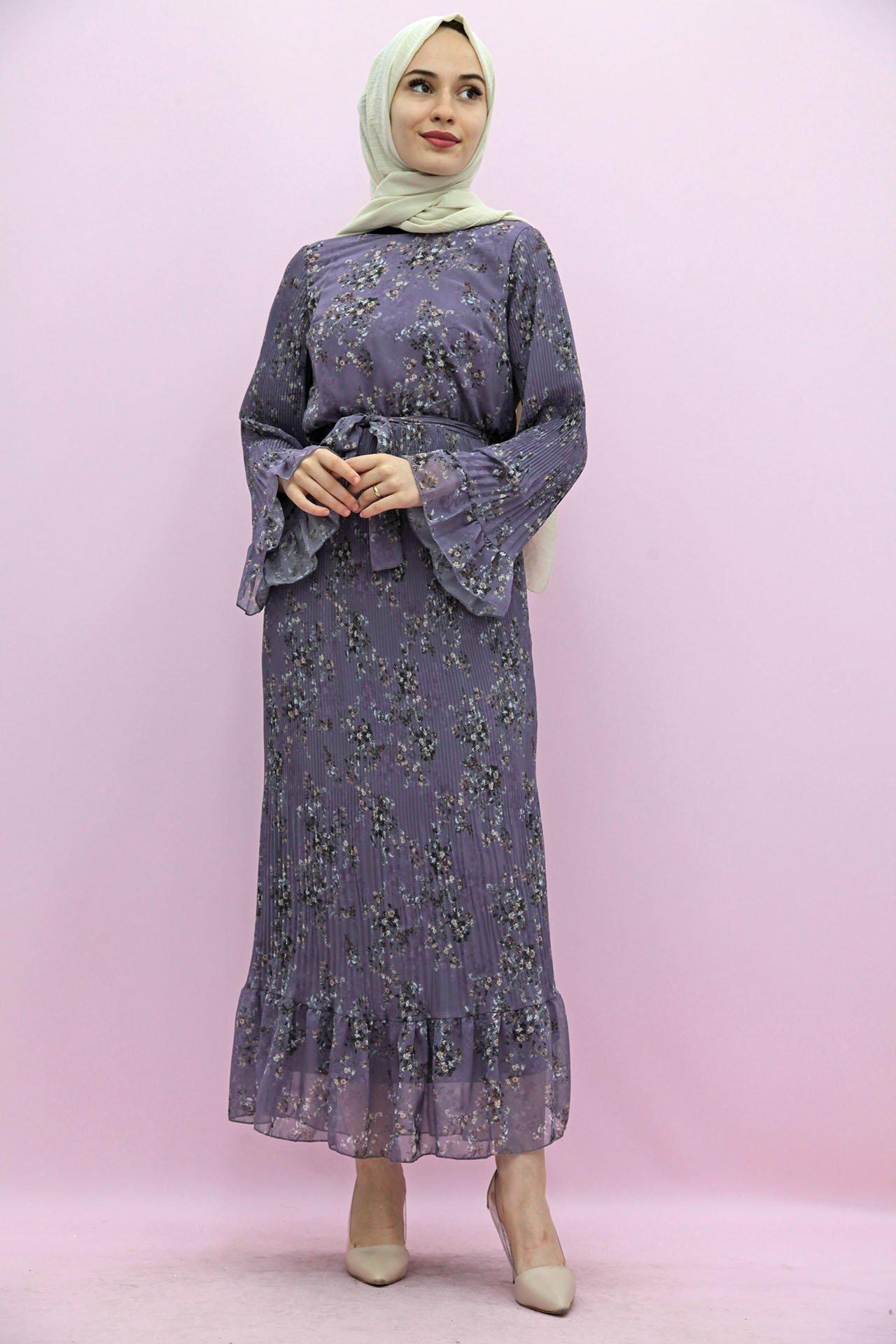 GİZAGİYİM - Giza Kol Ucu Volanlı Elbise Lila