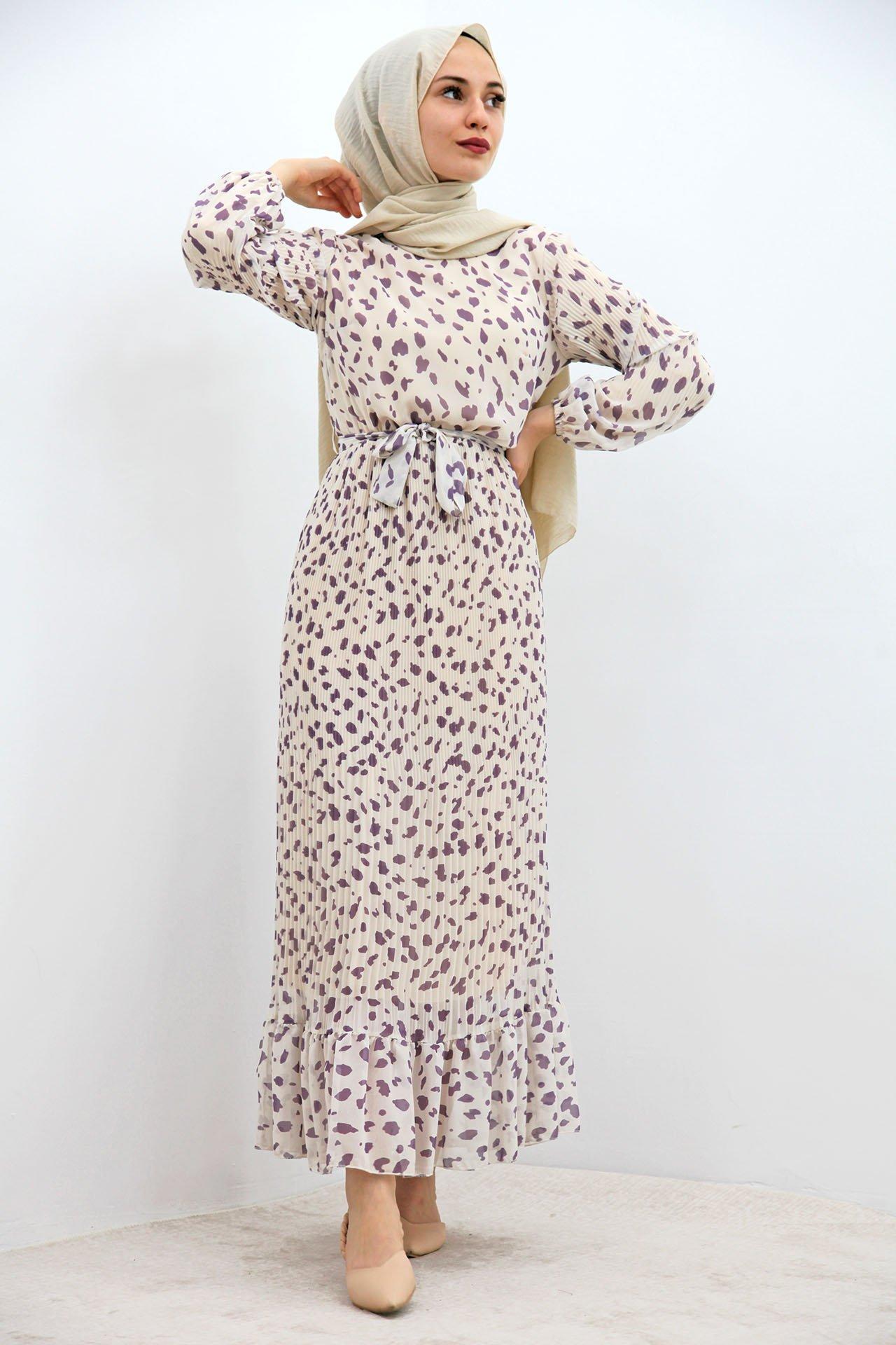 GİZAGİYİM - Benekli Şifon Tesettür Elbise Lila