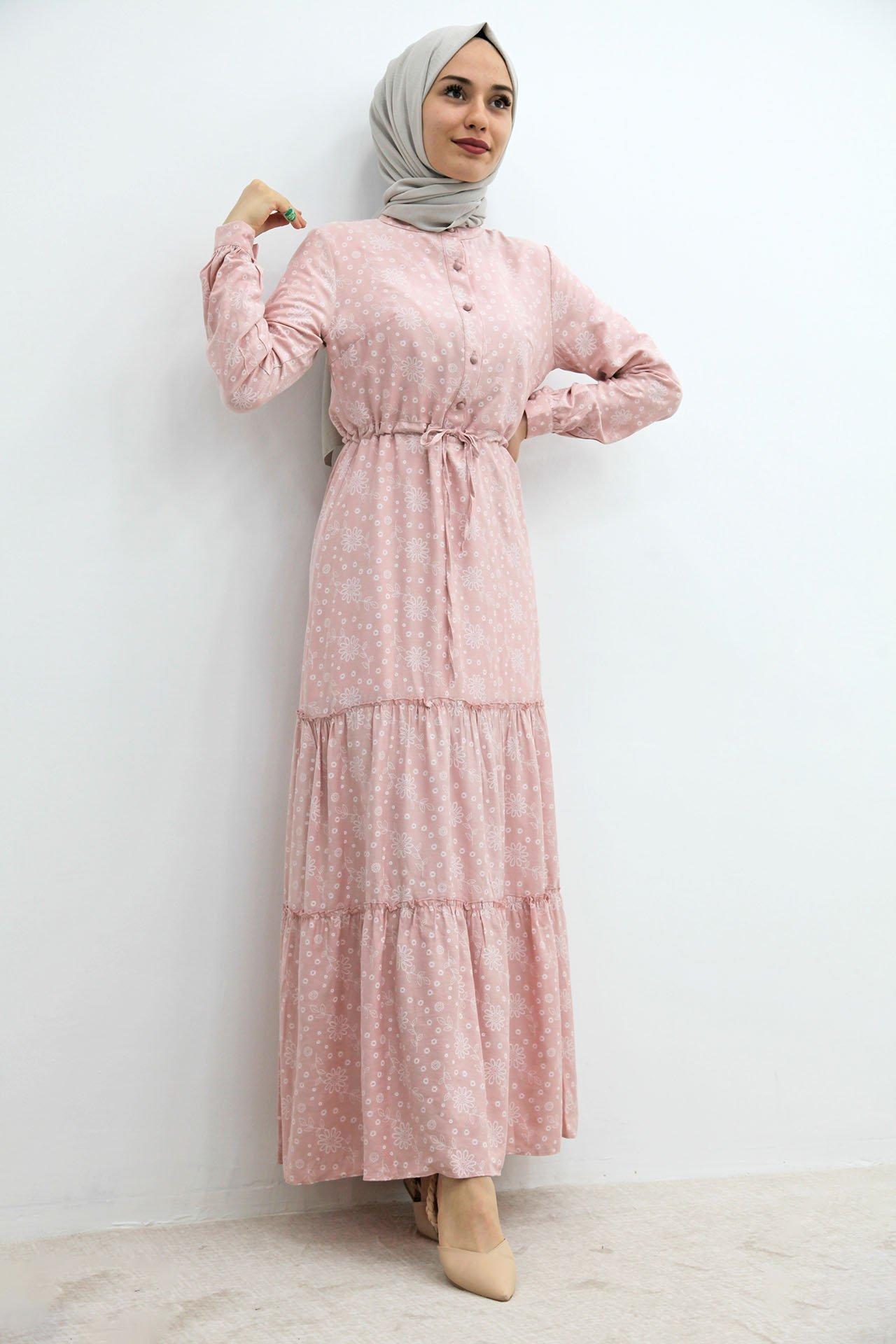 GİZAGİYİM - Önü Düğmeli Desenli Elbise Pembe