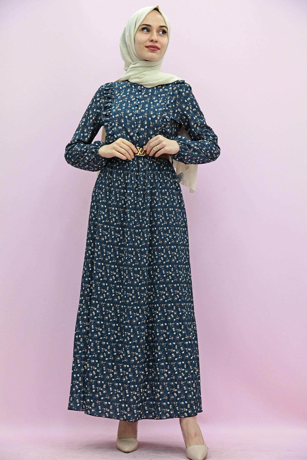 GİZAGİYİM - Kemerli Piliseli Elbise Lacivert