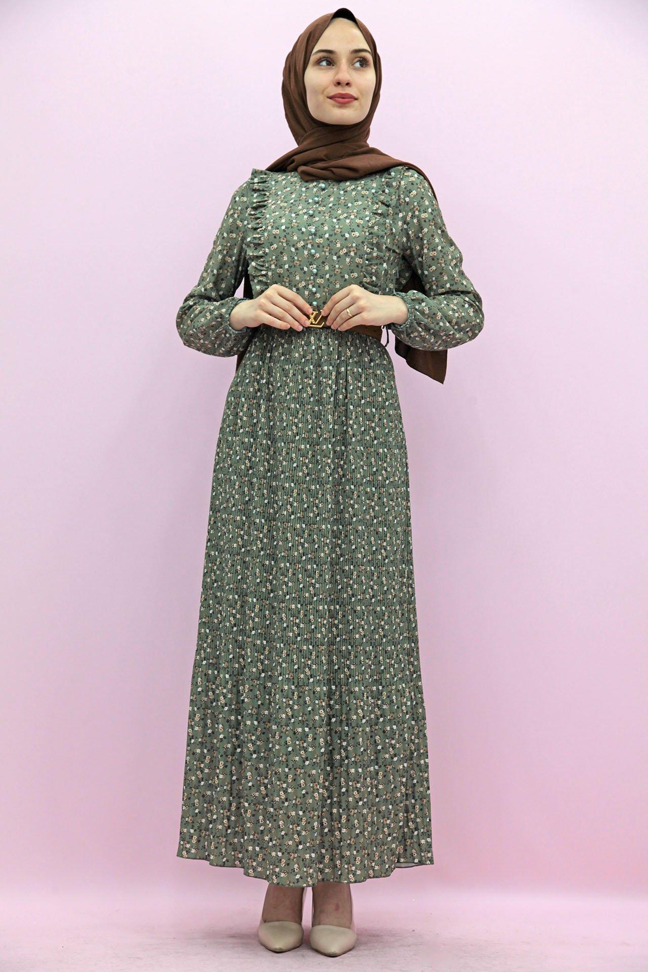 GİZAGİYİM - Kemerli Piliseli Elbise Yeşil