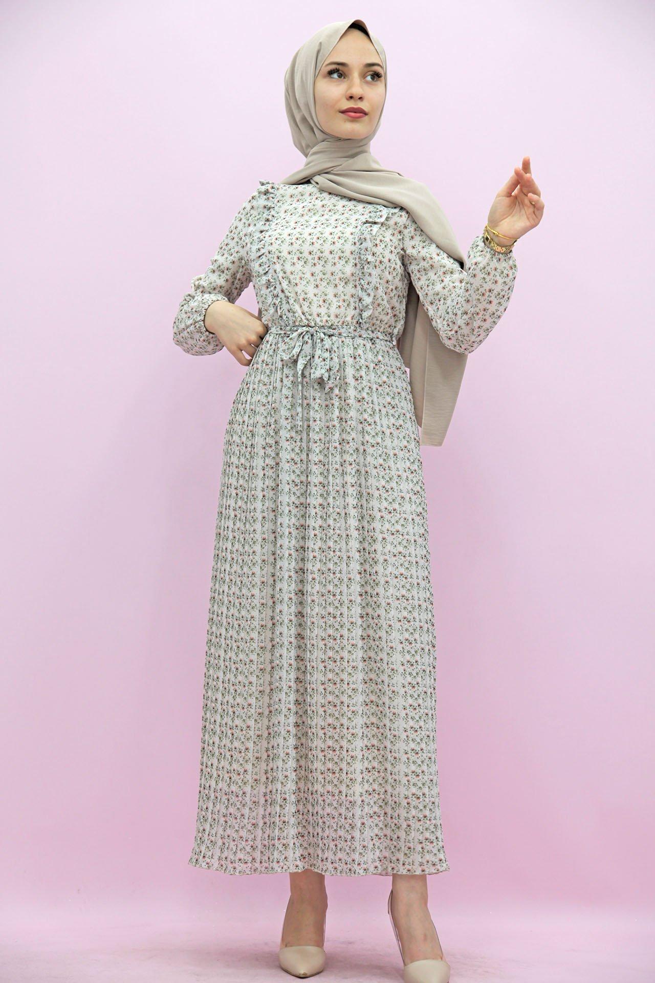 GİZAGİYİM - Giza Kuşaklı Piliseli Elbise Turuncu