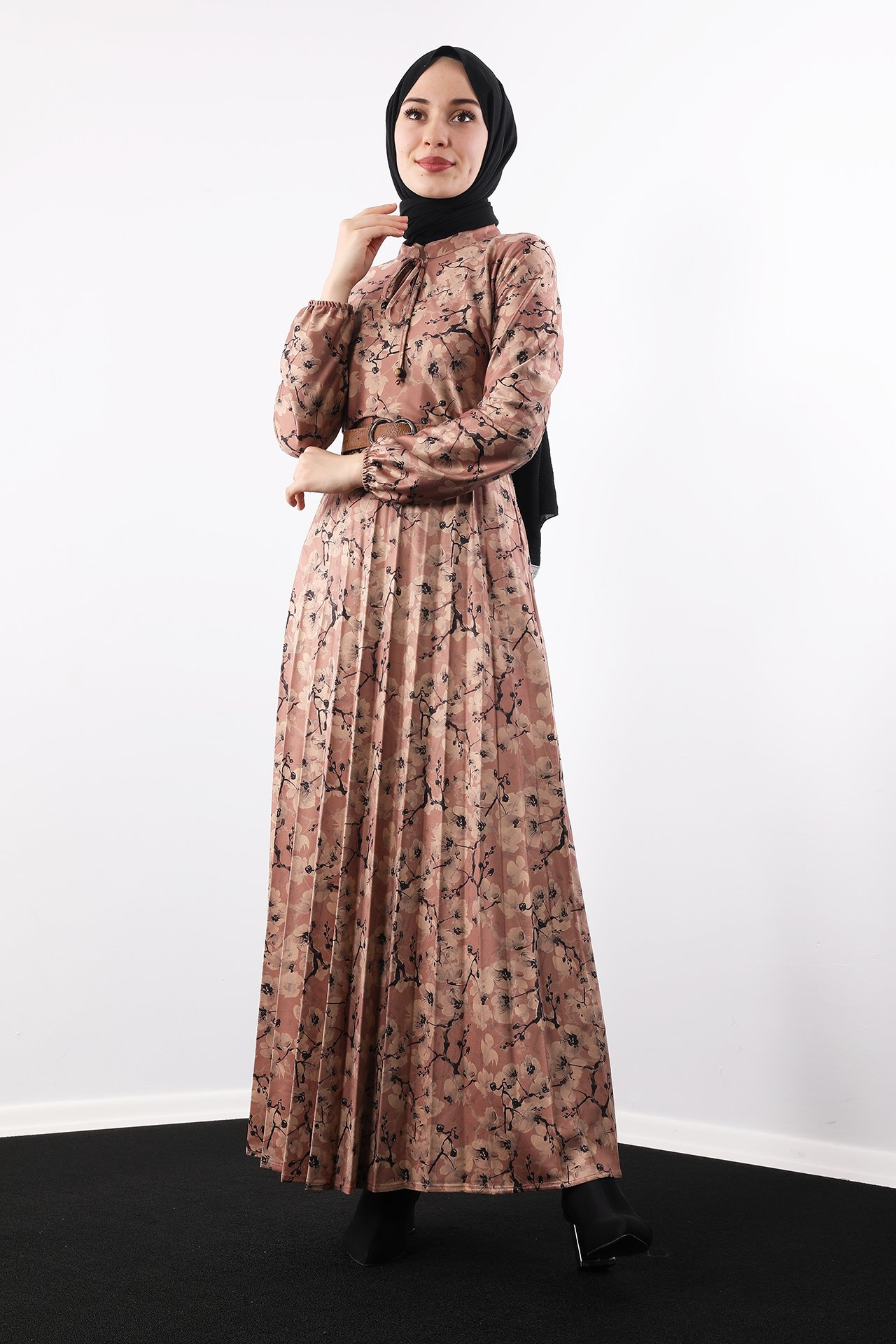 GİZAGİYİM - Çiçekli Eteği Pileli Elbise Gül kurusu