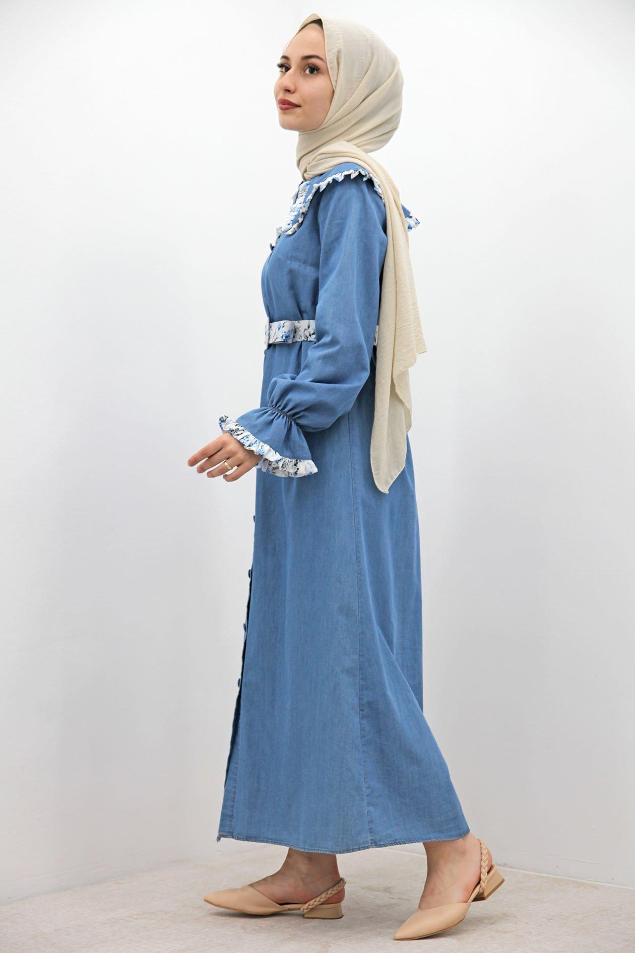 Bebe Yaka Koyu Kot Elbise - Thumbnail