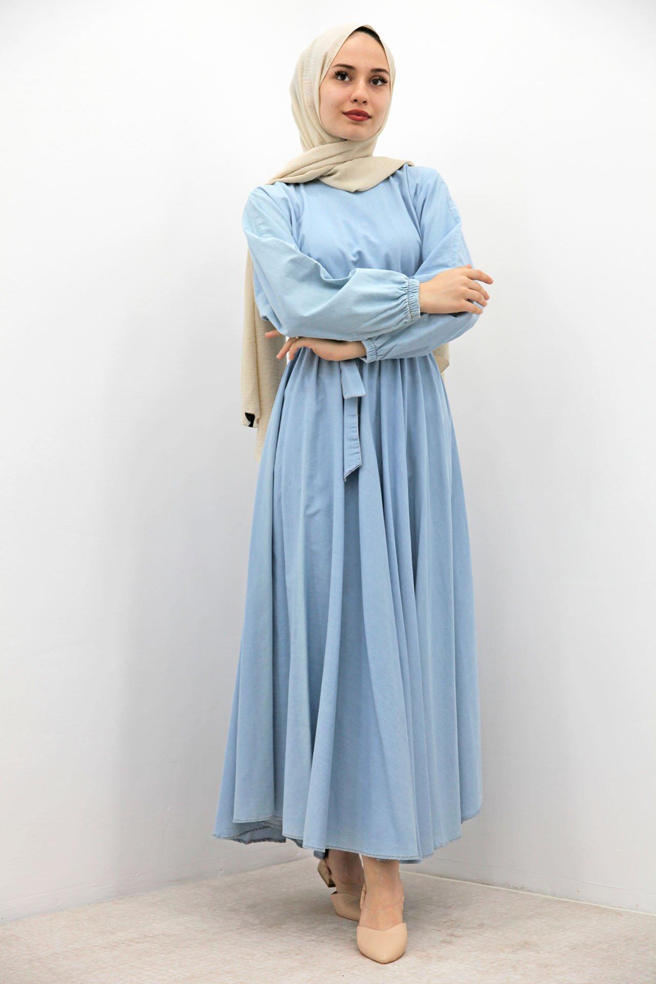 Beli Lastikli Açık Kot Elbise - Thumbnail