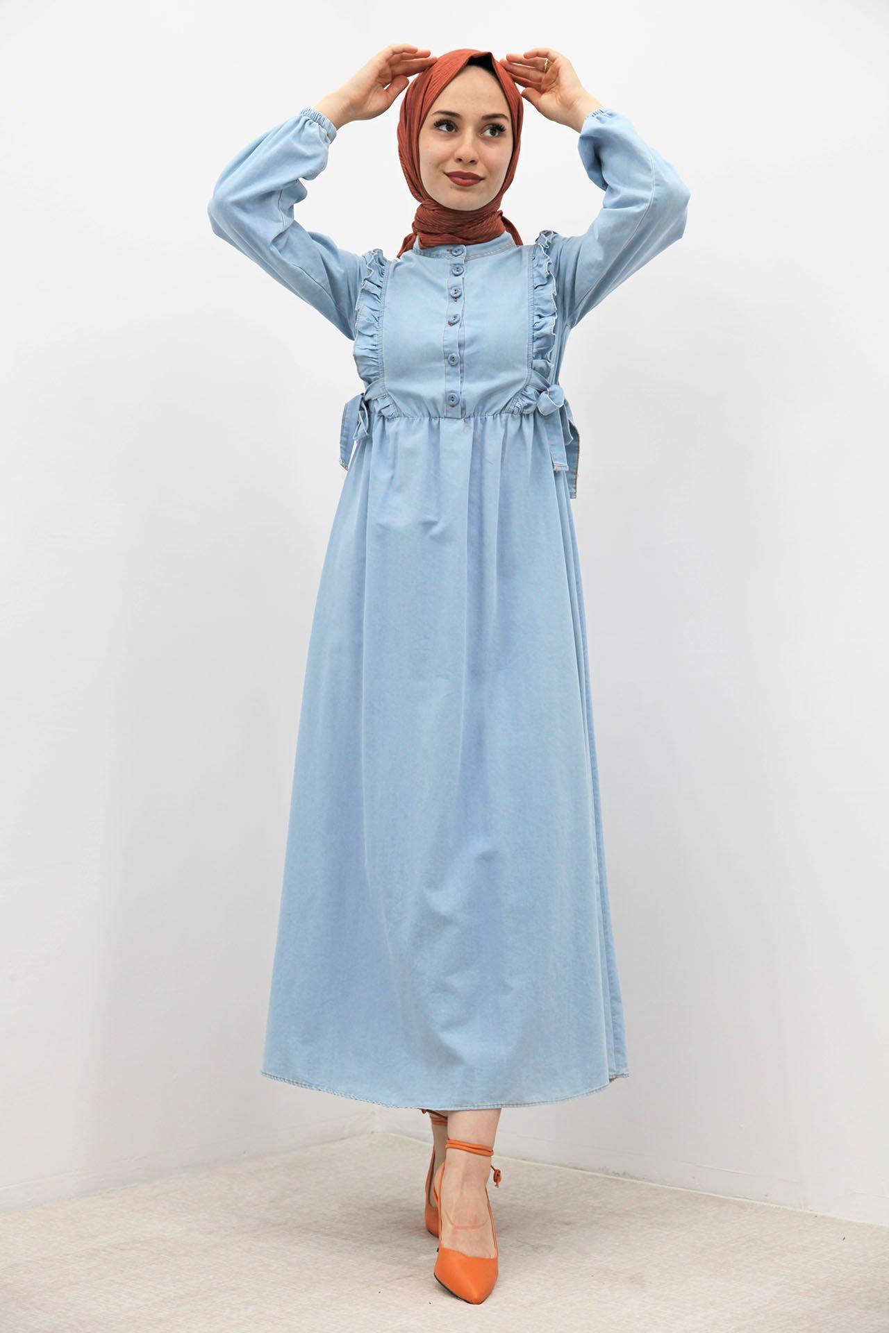 GİZAGİYİM - Yanları Bağlamalı Açık Kot Elbise