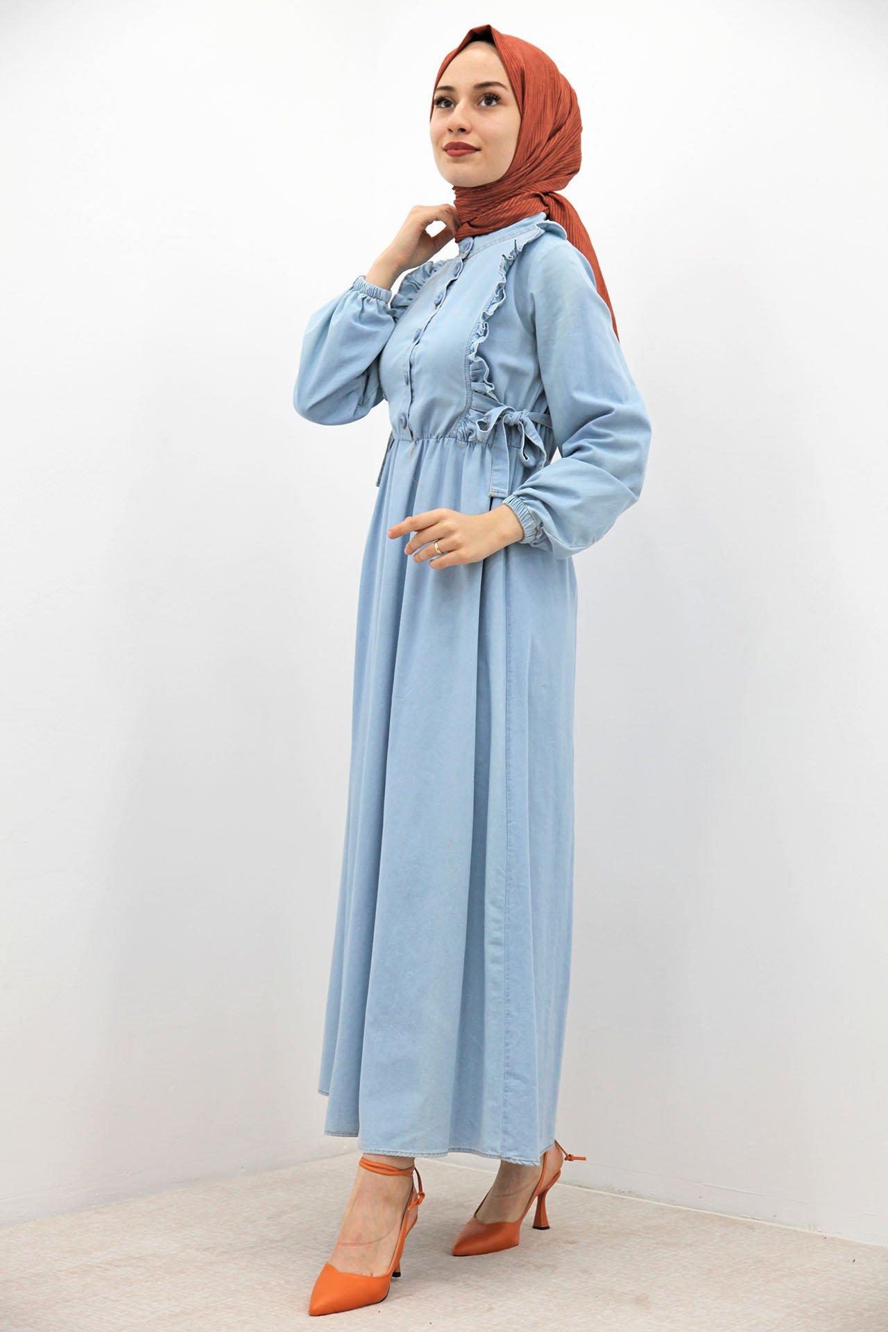 Yanları Bağlamalı Açık Kot Elbise - Thumbnail